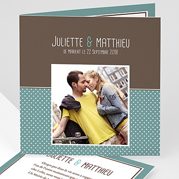 Faire part de mariage photo chocolat et turquoise avec photo