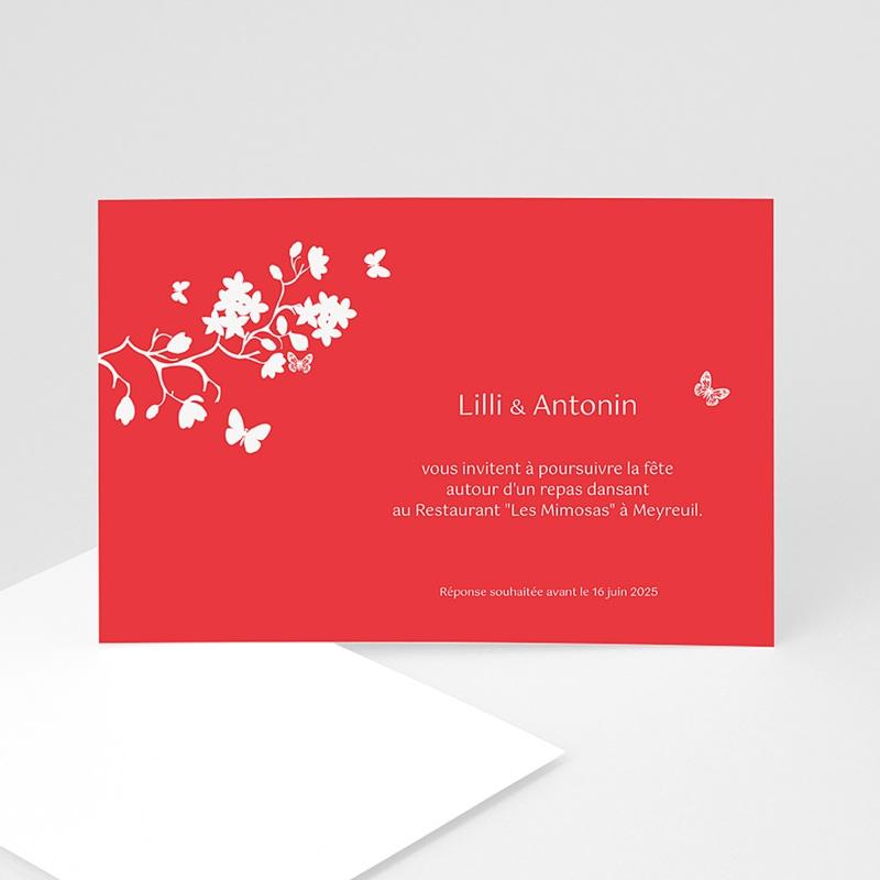 Carton Invitation Personnalisé Fleurs d'amour - Rouge