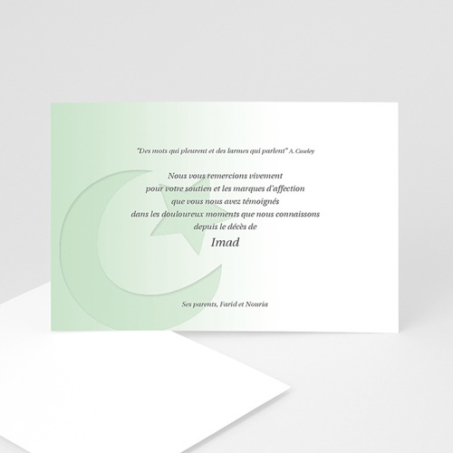 Carte Remerciement Décès Musulman Shâhâda Vert Pâle