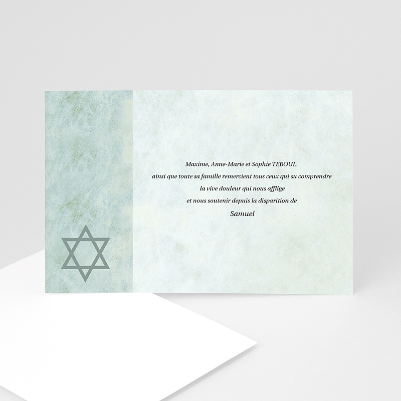Remerciements Décès Juif - Hatikvah - memento, confession juive 3210 thumb