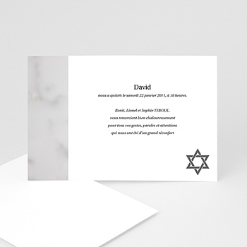 Carte remerciement décès juif matzevah - 1