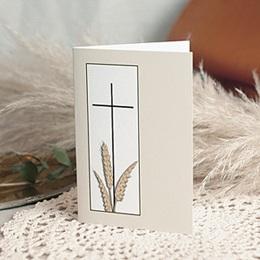 Carte remerciement décès chrétien Renaissance éternelle Blé