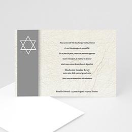 Carte remerciement décès juif Magen David - Bandeau Gris