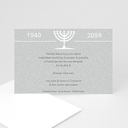 Carte remerciement décès juif Triste menorah