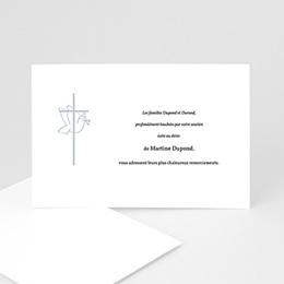 Carte remerciement décès chrétien Colombe - cadre gris