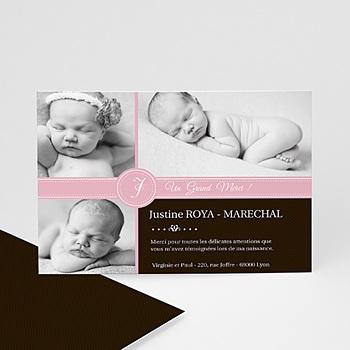 Carte remerciement naissance fille framboise et chocolat à personnaliser