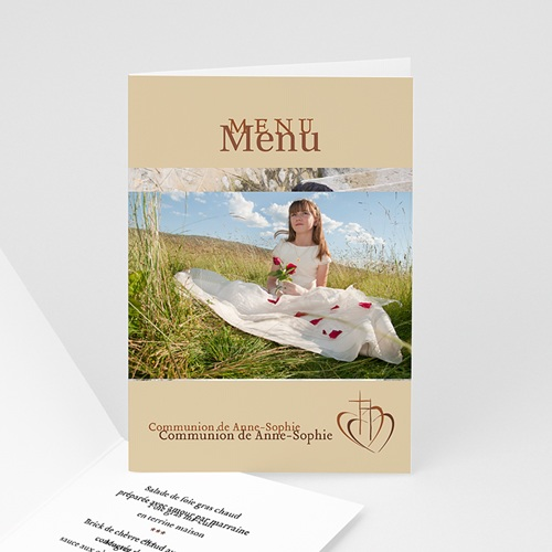 Menu de Communion - Communion, profession de foi-beige 3334