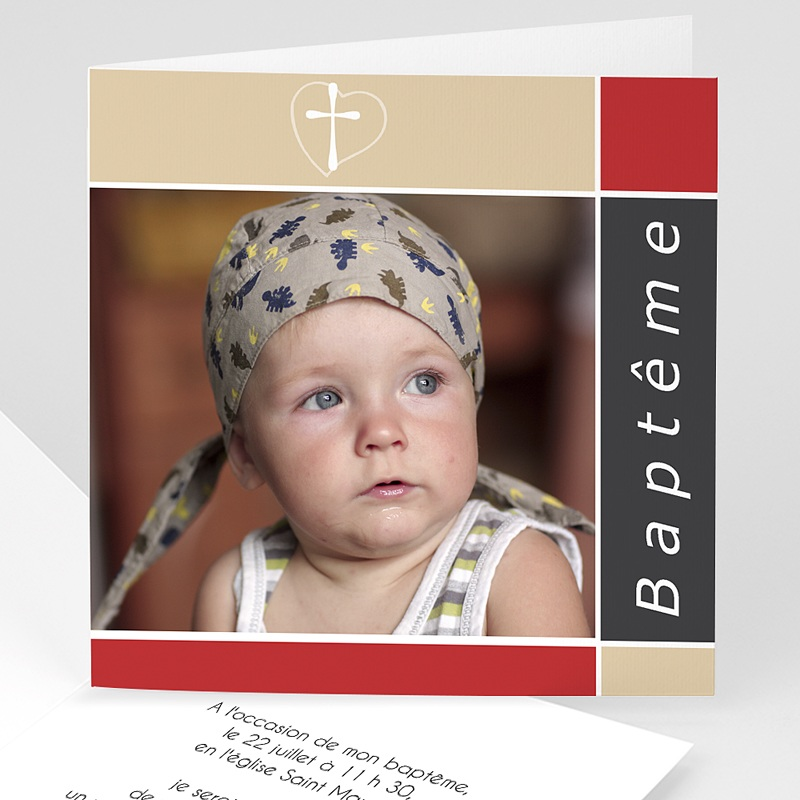 Faire-Part Baptême Fille Croix et dragées de Baptême - Rouge