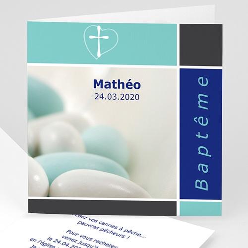 Faire-part Baptême Garçon - Croix, dragées de Baptême - Bleu 3370