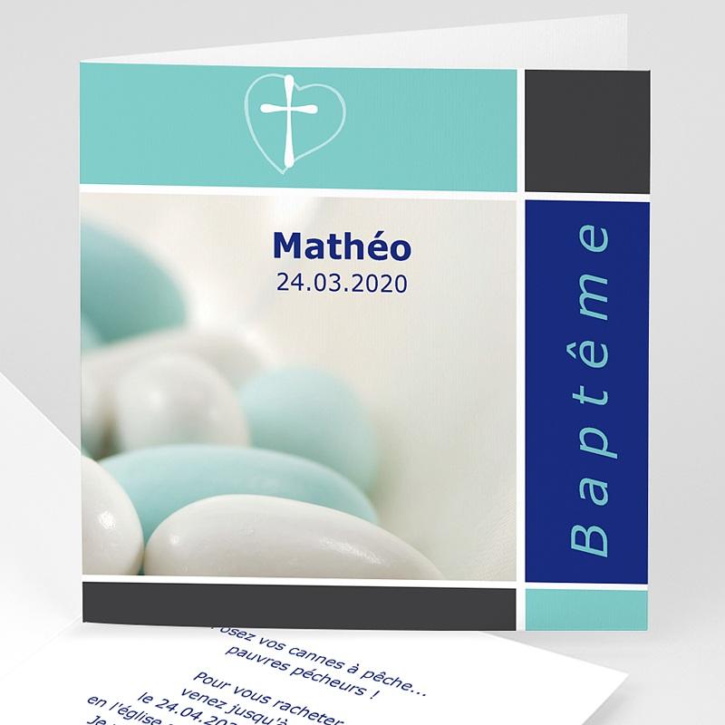 Faire-Part Baptême Garçon Croix, dragées de Baptême - Bleu