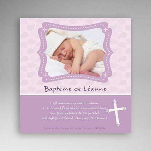 Faire-part baptême fille Baptême mauve
