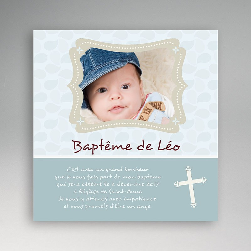 Faire-part baptême fille Baptême gris