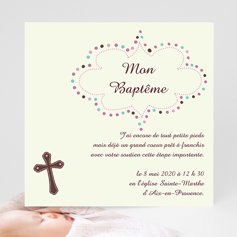 Faire-Part Baptême Fille Cérémonie Melys