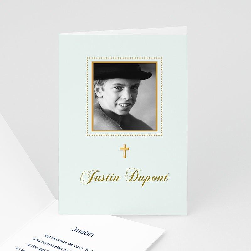 Faire-part communion garçon Classique - bleu pâle