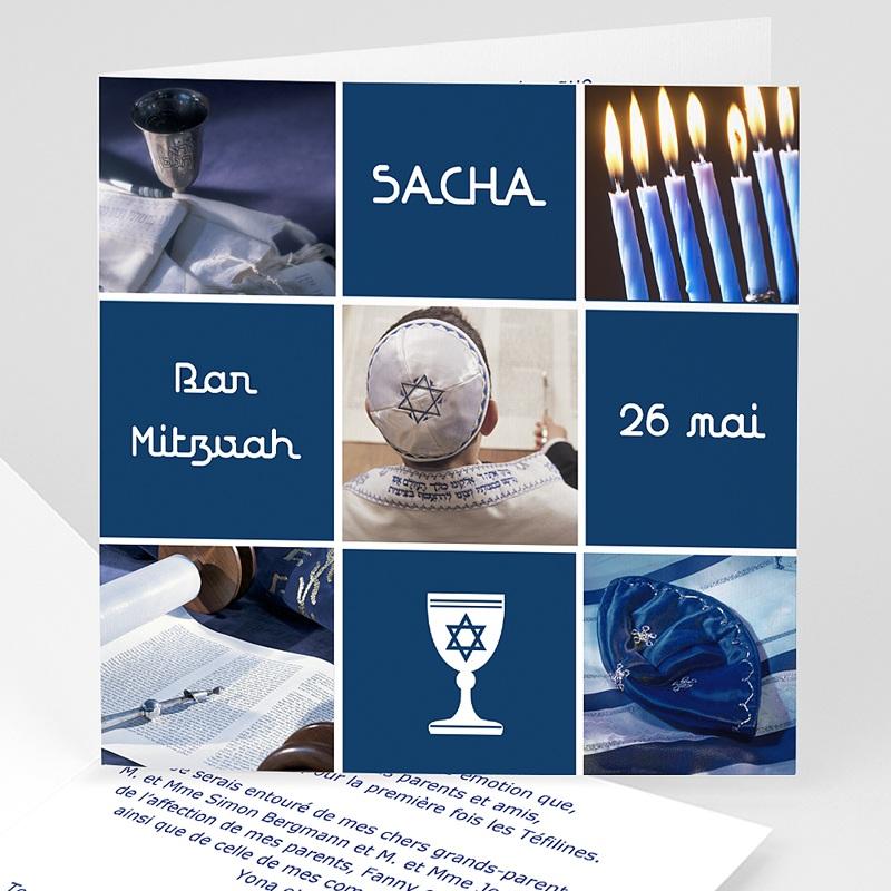 Faire-Part Bar-Mitzvah symboles en bleu