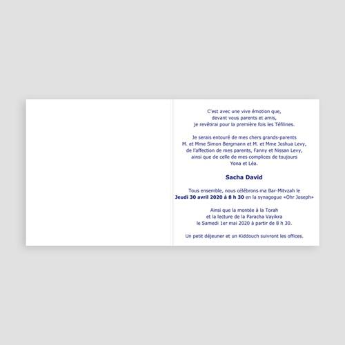 Faire-part Bar-Mitzvah - symboles en bleu 3483 thumb