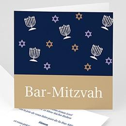 Faire-Part Bar Mitzvah Marron doré et bleu