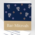 Faire-part Bar-Mitzvah - Marron doré et bleu 3490 thumb