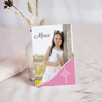 Achat carte remerciement communion fille communion sacrée - rose pâle