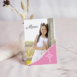 Carte remerciement communion fille Communion  sacrée - rose pâle