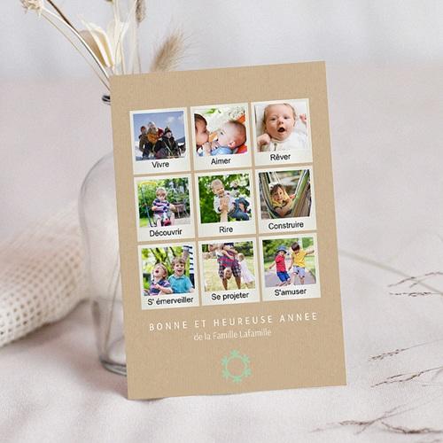Carte de Voeux Famille Bonne et heureuse année photo polaroid