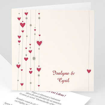 Faire-Part Mariage - Mariage perles de coeurs - 3