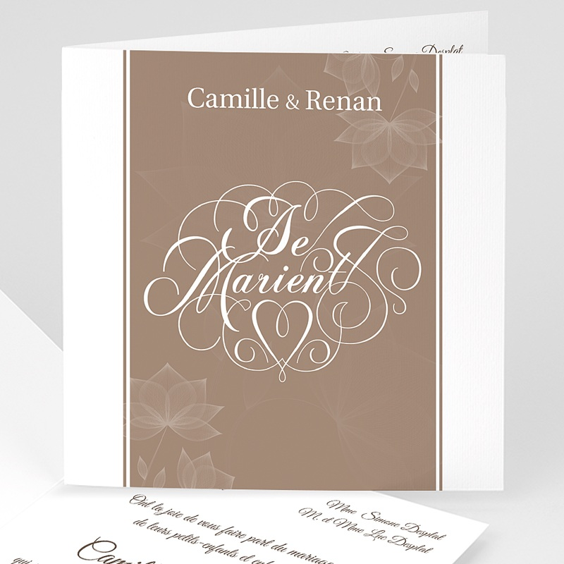 Faire-Part Mariage sans photo - Elégance chocolat 3530 thumb