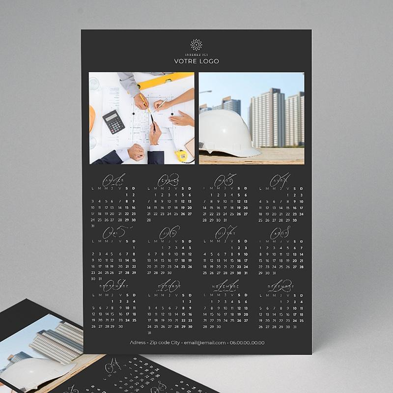 Calendrier Entreprise 2020 Pro Noir Vertical