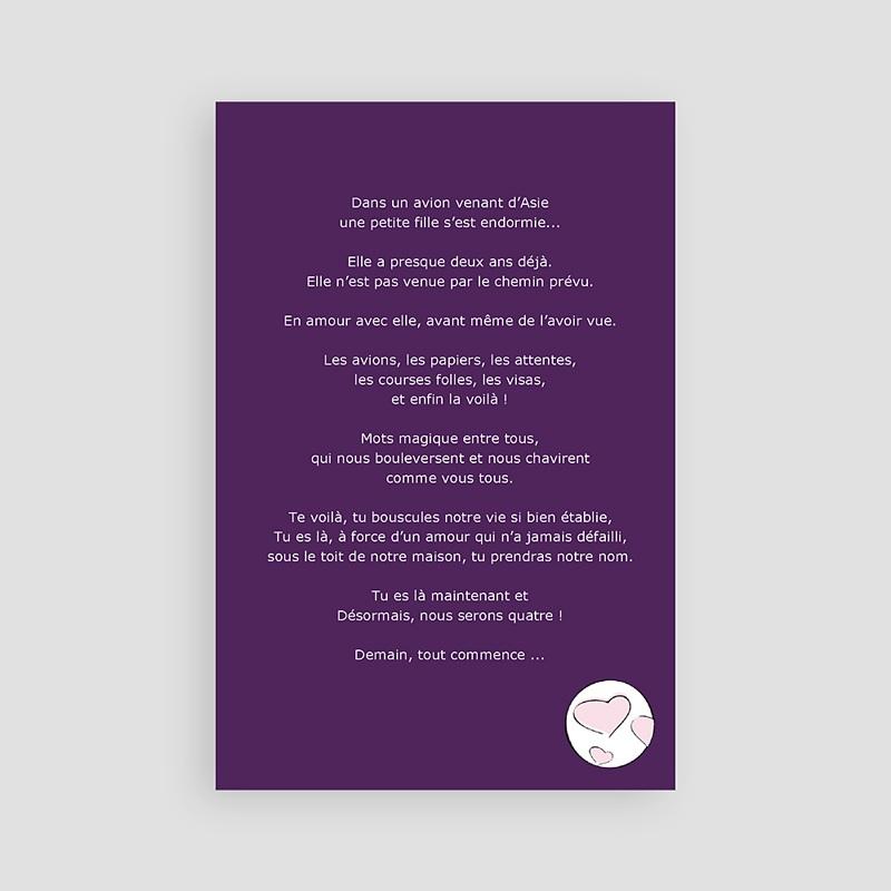 Faire-Part Adoption Fille Bienvenue - Violet pas cher