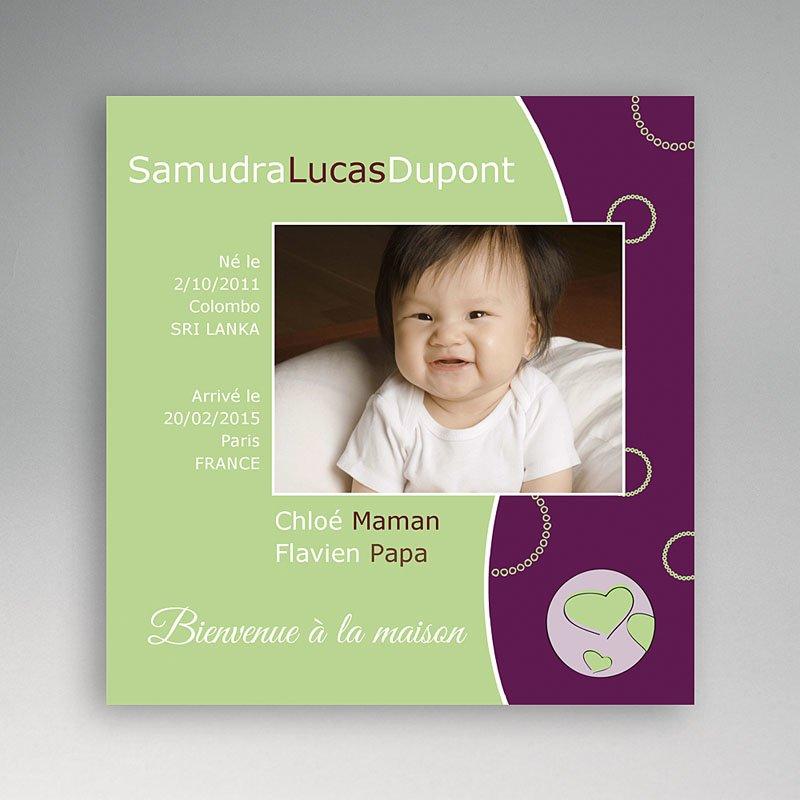 Faire-part Adoption Fille - La couleur de l'Amour - Vert et Violet 3562 thumb