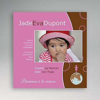 Faire-part Adoption Fille - La couleur de l'Amour - Rose et Marron - 3