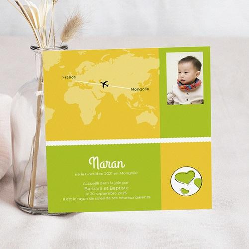 Faire-Part Adoption Fille Autour du Monde - Jaune et Vert