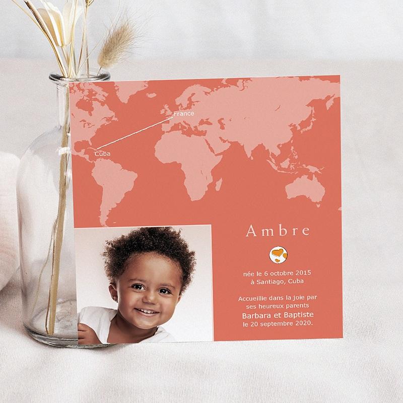Faire-Part Adoption Fille Autour du Monde - Rose et Orange