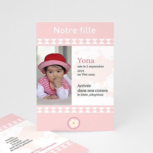 Faire-part Adoption Fille - L'amour sans frontière - Rose 3622 thumb
