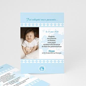 Faire-part Adoption Garçon - L'amour sans frontière - Bleu - 3