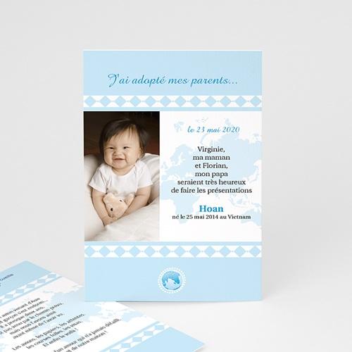 Faire-part Adoption Garçon - L'amour sans frontière - Bleu 3626