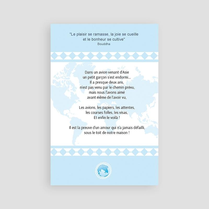 Faire-Part Adoption Garçon L'amour sans frontière - Bleu pas cher