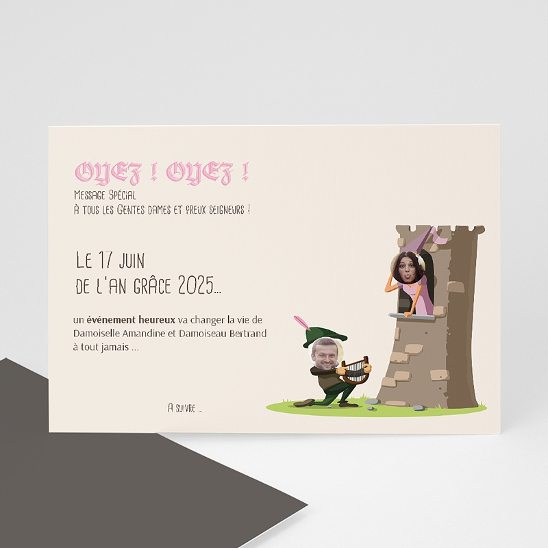 Save the date mariage Moyen Age
