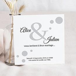 Faire-part mariage noir et blanc Confetti blanc et gris à pois