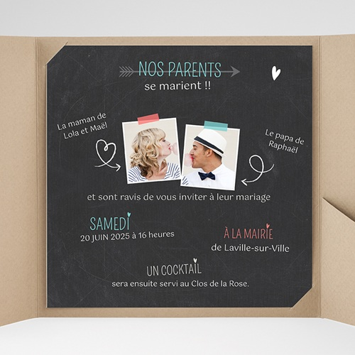 Faire-Part Mariage Pochette carré - Vive les parents 36852 preview