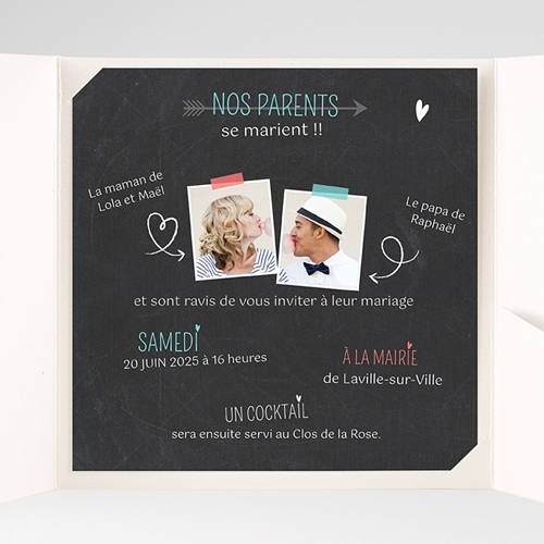 Faire-Part Mariage Pochette carré - Vive les parents 36853 preview