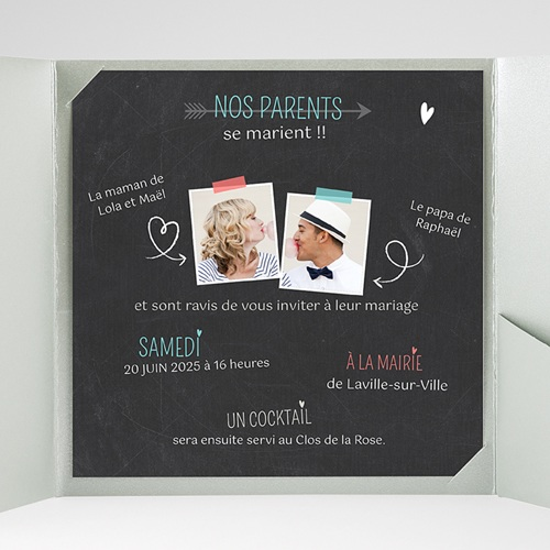 Faire-Part Mariage Pochette carré - Vive les parents 36854 preview