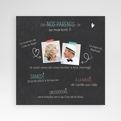 Faire-Part Mariage Pochette carré - Vive les parents 36855 preview