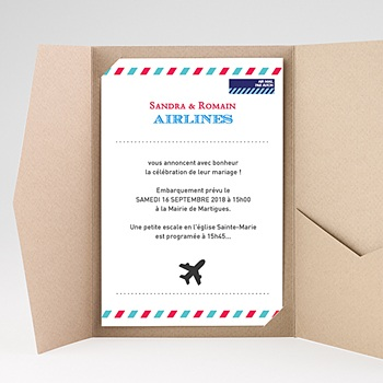 Faire Part Mariage rectangulaire - Airlines - 0
