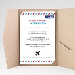 Faire Part Mariage Pochette rectangulaire - Airlines - 0