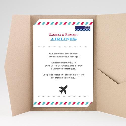 Faire Part Mariage Pochette rectangulaire - Airlines 36906 thumb