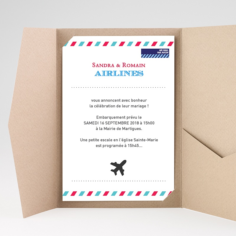 Faire Part Mariage rectangulaire Airlines