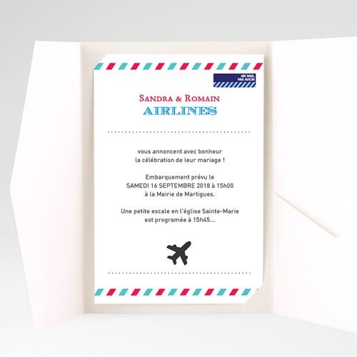 Faire Part Mariage Pochette rectangulaire - Airlines 36907 thumb