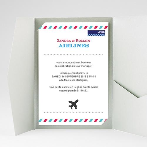 Faire Part Mariage Pochette rectangulaire - Airlines 36908 thumb