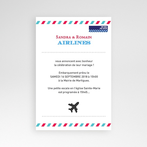 Faire Part Mariage Pochette rectangulaire - Airlines 36909 thumb